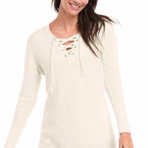 Ellos Women's Plus Pullover Lace Up Neck Sweater